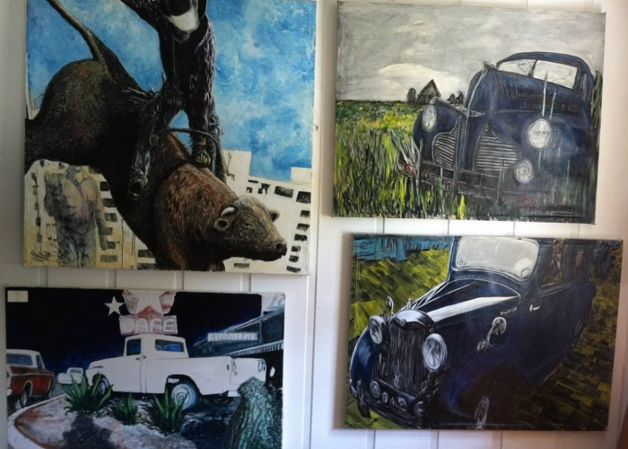 Cars, trucks, bronco paintings by Mike Price