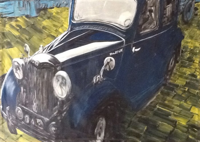 Painting of old car on brick road by Mike Price